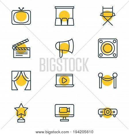 Vector Illustration Of 12 Film Icons. Editable Pack Of Loudspeaker, Television, Slideshow And Other Elements.