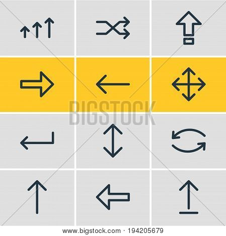 Vector Illustration Of 12 Arrows Icons. Editable Pack Of Update, Widen, Randomize Elements.