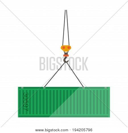 Logistics container flat icon. Vector isolated goods cargo on transportation crane for shipment to warehouse infographics