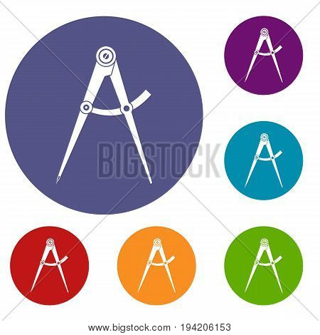 Compass tool icons set in flat circle reb, blue and green color for web