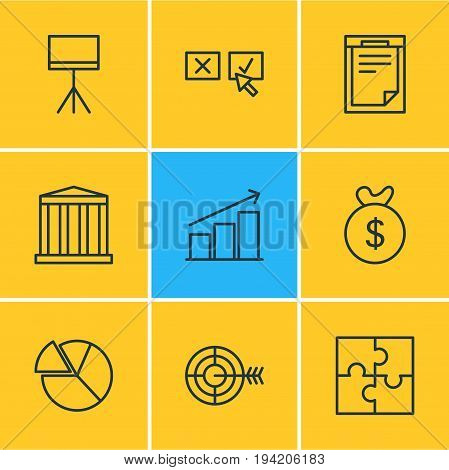Vector Illustration Of 9 Trade Icons. Editable Pack Of Chart, Riddle, Building And Other Elements.
