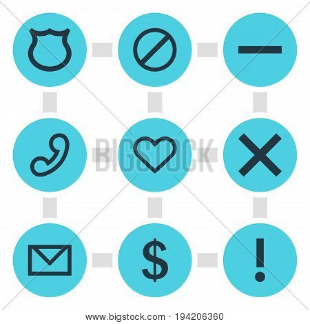 Vector Illustration Of 9 Member Icons. Editable Pack Of Letter, Heart, Money Making And Other Elements.
