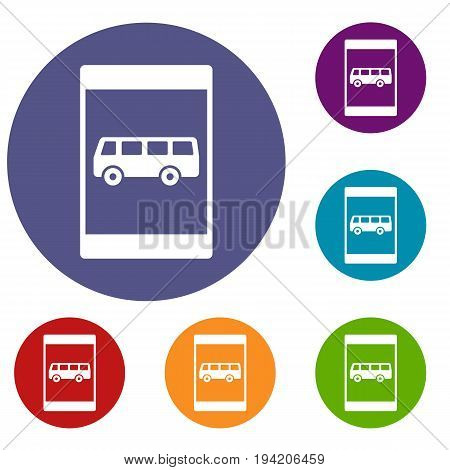 Bus stop sign icons set in flat circle reb, blue and green color for web