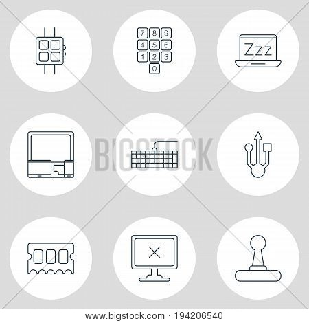 Vector Illustration Of 9 Computer Icons. Editable Pack Of Number Keypad, Modern Watch, Qwerty Board And Other Elements.