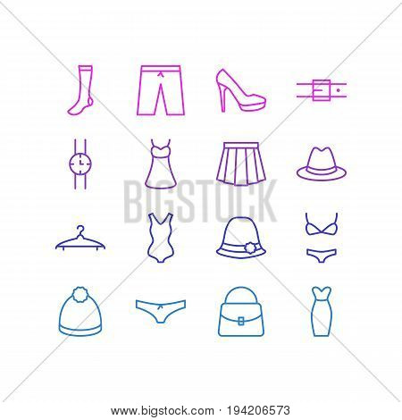 Vector Illustration Of 16 Dress Icons. Editable Pack Of Cloakroom, Sarafan, Swimming Trunks And Other Elements.