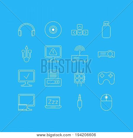 Vector Illustration Of 16 Laptop Icons. Editable Pack Of Cursor Manipulator, Input Jack, Warning And Other Elements.