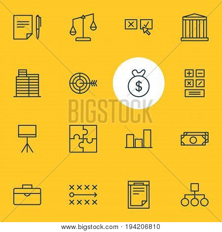 Vector Illustration Of 16 Management Icons. Editable Pack Of Graph, Scheme, Bag And Other Elements.