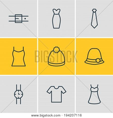Vector Illustration Of 9 Dress Icons. Editable Pack Of Sarafan, Singlet, Strap And Other Elements.