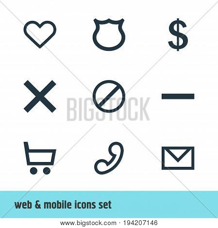 Vector Illustration Of 9 Member Icons. Editable Pack Of Wrong, Minus, Heart And Other Elements.