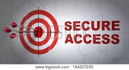 Success protection concept: arrows hitting the center of target, Red Secure Access on wall background, 3D rendering