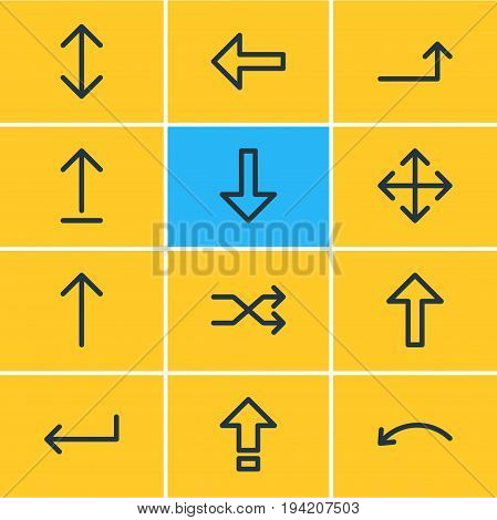 Vector Illustration Of 12 Sign Icons. Editable Pack Of Widen, Turn , Randomize Elements.
