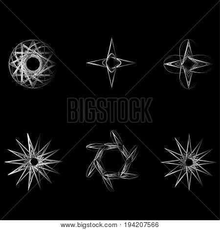 Geometric Pattern Icon Star Astrology Set Pentagram