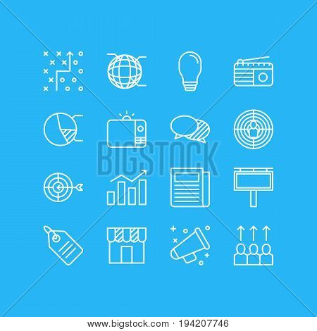 Vector Illustration Of 16 Marketing Icons. Editable Pack Of Circle Diagram, Shop, Aiming And Other Elements.