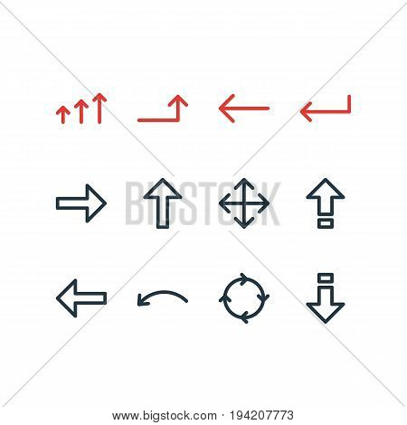 Vector Illustration Of 12 Direction Icons. Editable Pack Of Turn, Increase, Up And Other Elements.