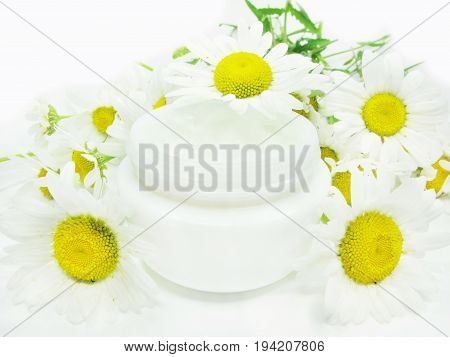 cosmetic creme for face healthcare among daisy flowers