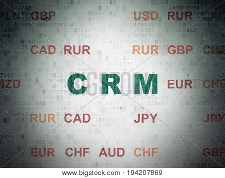 Finance concept: Painted green text CRM on Digital Data Paper background with Currency
