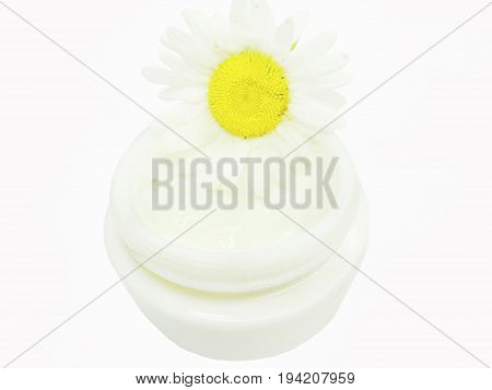 floral cosmetic creme for face with daisy medical essence