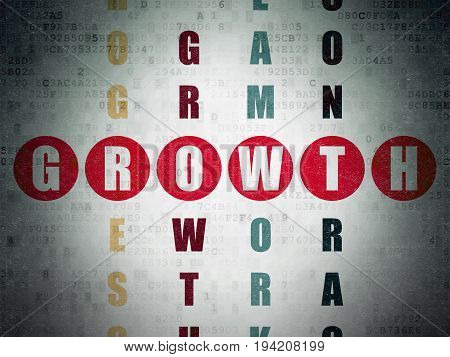 Finance concept: Painted red word Growth in solving Crossword Puzzle on Digital Data Paper background