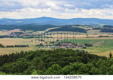 Panoramatic View To Village Kojecin From Castle Tower. Czech Landscape.