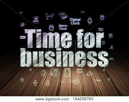 Time concept: Glowing text Time for Business,  Hand Drawing Time Icons in grunge dark room with Wooden Floor, black background