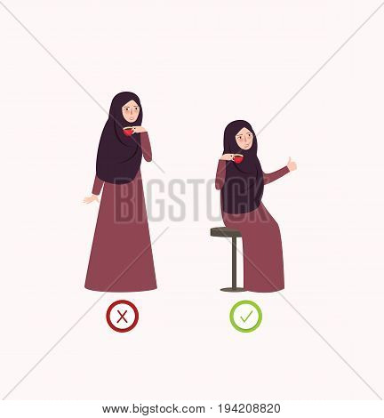 correct and wrong posture way drink illustration of proper position vector in islam vector