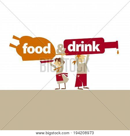 cafe waiters hold food and drinks. simple flat header. vector illustration on on white background
