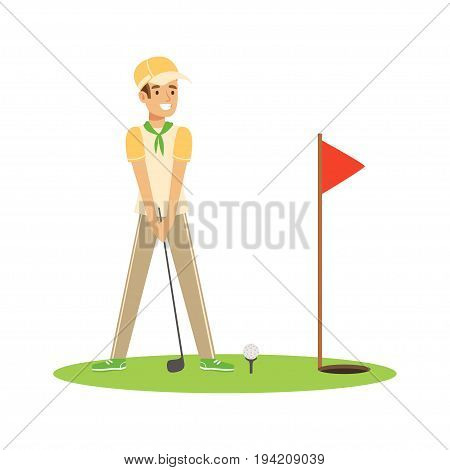 Smiling man golfer hitting the ball vector Illustration isolated on a white background