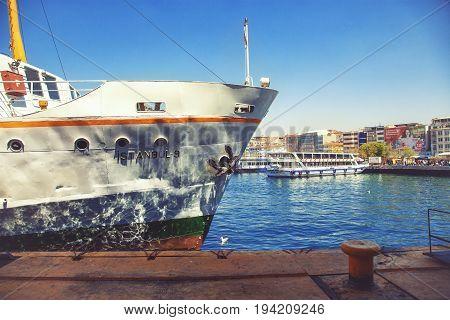 ISTANBUL TURKEY - APRIL 28 2017: Ferry on Kadikoy pier
