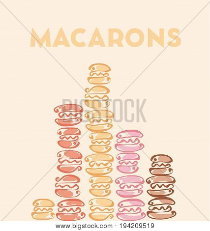 rosy and chocolate  color macaron sweet cake on beige craft background. vector illustration