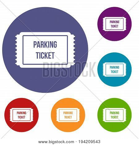 Parking ticket icons set in flat circle reb, blue and green color for web
