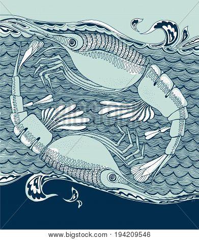shrimp or prawn animal in decorative style. hand drawn vector illustration.