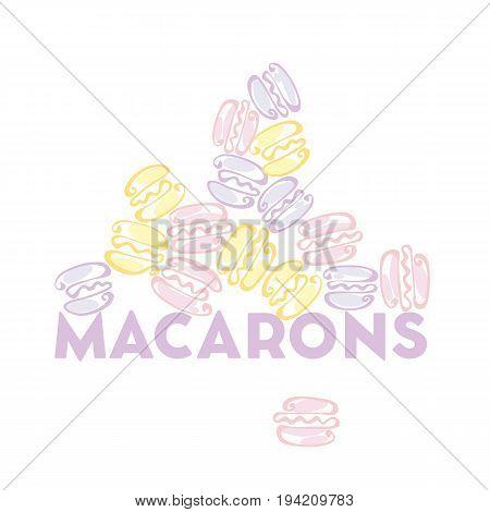 pale color macaron sweet cake. vector illustration