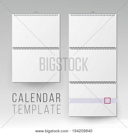 Spiral Calendar Vector. Blank Office Calendar Mock Up. Realistic Sheets Of Paper. Empty Mock Up Wall Calendar Illustration.