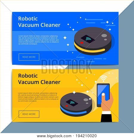 Robotic Vacuum Cleaner Promo Web Banner Ad. Robovac Promotion Advertisement Layout. Domestic Robot D