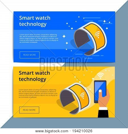 Smartwatch Promo Web Banner Ad. Wearable Smart Watch Promotion Advertisement Layout. Mobile Device W
