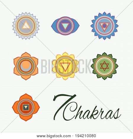 Set of seven chakras icons.Yoga meditation and energy centers vector symbols.