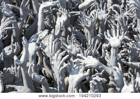 Hands Statue From Hell In Wat Rong Khun At Chiang Rai