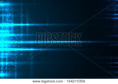 Glow light motion vector abstract blue background with lines and glitter particles.