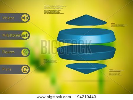 3D illustration infographic template with motif of two cylinders between two cones horizontally arranged with simple sign and sample text on side in bars. Blurred photo is used as background.