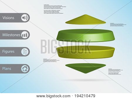 3D Illustration Infographic Template With Two Cylinders Between Two Cones Horizontally Arranged