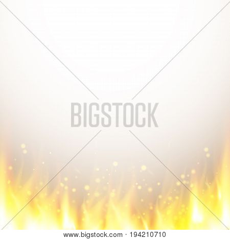 Abstract background with realistic fire flames effect. Hell background. Vector illustration