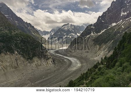 Amazing view of the Mer de Glace. French Alps. Chamonix.
