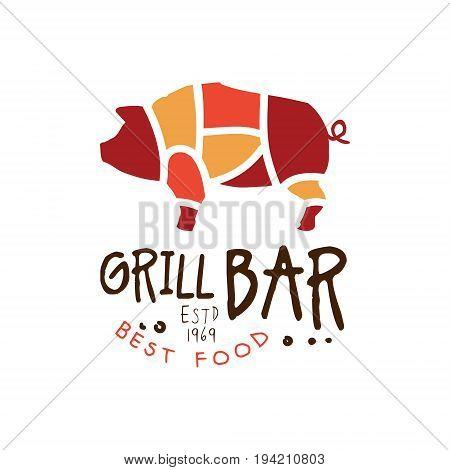 Grill bar best food estd 1969 logo template hand drawn colorful vector Illustration for menu, restaurant, cafe, bistro