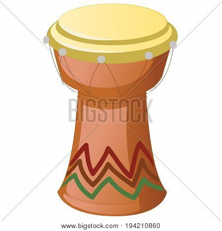 African Djembe Drum isolated on a white background. Vector
