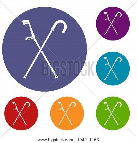 Walking cane icons set in flat circle reb, blue and green color for web