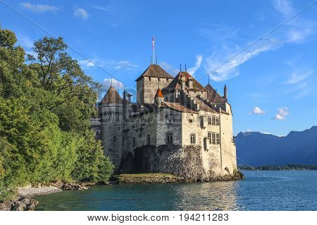 The view of the Chateau de Chillon on the lake Geneva