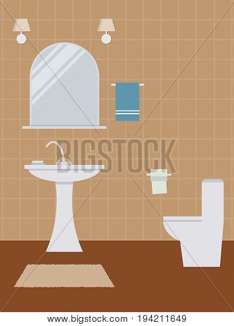 Water closet in a beige color. There is a wash basin, a toilet, a mirror and other objects in the picture. Vector flat illustration.