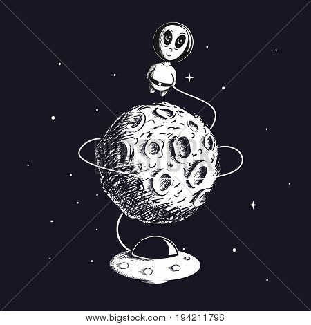 Cute alien astronaut flying around the Moon with UFO.Hand drawn childish vector illustration.Prints design for kids wear or t-shirts