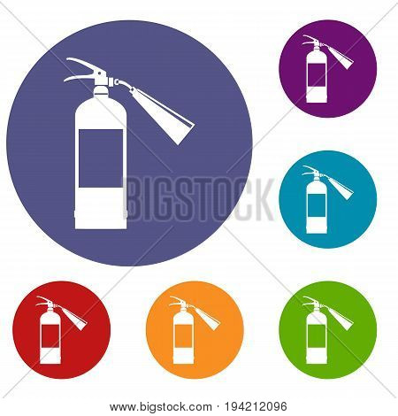 Fire extinguisher icons set in flat circle reb, blue and green color for web