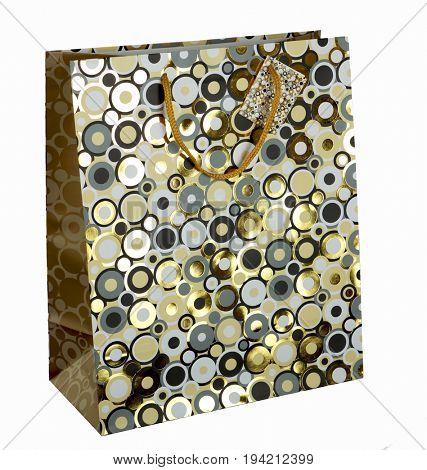 gift paper bag with color circles print isolated on white background